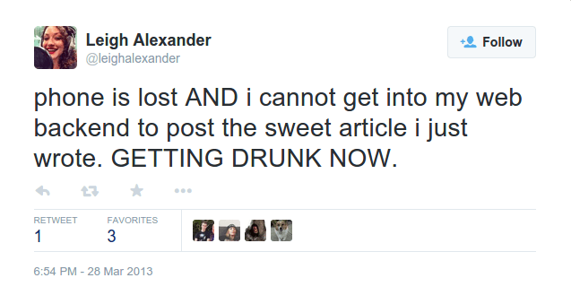 Just one of several drunk tweets.