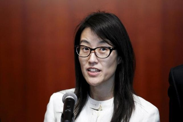 Ellen Pao speaks to the media after losing her high profile gender discrimination lawsuit against venture capital firm Kleiner, Perkins, Caufield and Byers in San Francisco
