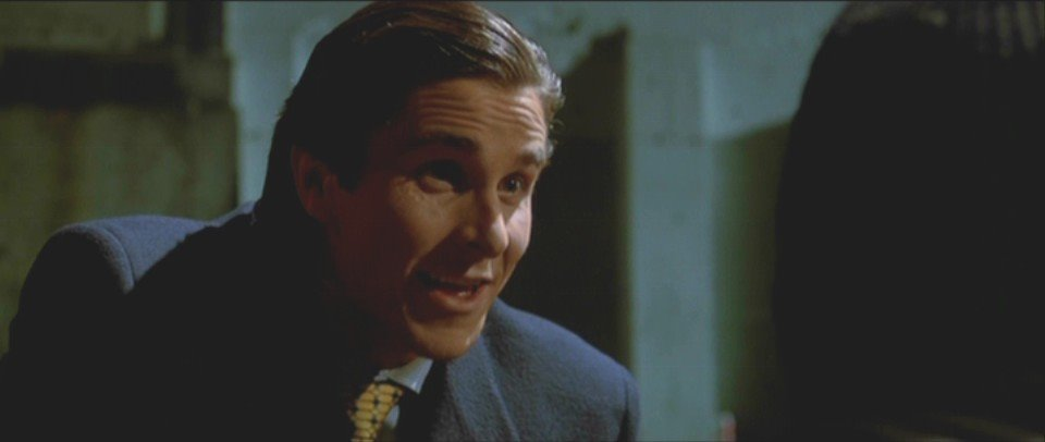 Patrick Bateman in the middle of some important charity work.
