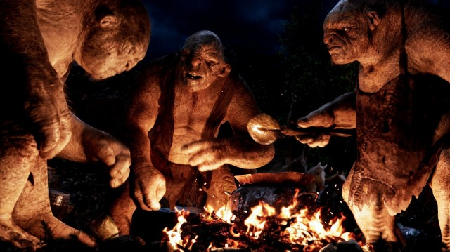 """(L-r) The trolls: William, Tom and Bert (performed by PETER HAMBLETON, MARK HADLOW and WILLIAM KIRCHER respectively) in the fantasy adventure """"THE HOBBIT: AN UNEXPECTED JOURNEY,"""" a production of New Line Cinema and Metro-Goldwyn-Mayer Pictures (MGM), released by Warner Bros. Pictures and MGM."""